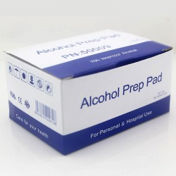 Paños alcoholizados caja por 100 unidades.