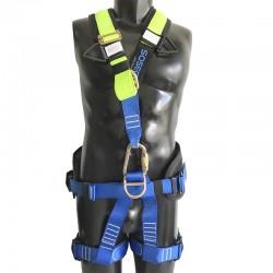 Arnés cuerpo completo de 5 argollas, incluye respaldo lumbar, dorsal y apoyo en pierna. Sosega.