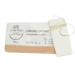 Aguja con hilo Catgut absorbible natural 25 mm, 1/2 circle 75 cm, triangular.