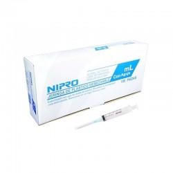 Jeringa desechable (3 partes) de 1 ml para insulina, en caja.