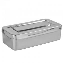Cubeta acero inoxidable con tapa de 33 cm x 11 cm x 4 cm.