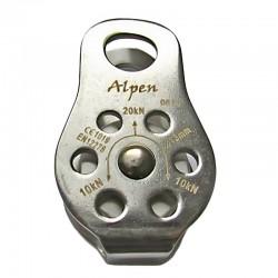 Polea placas laterales fijas en acero y roldana en aluminio, Alpen.