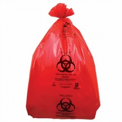 Bolsa roja para disposición de desechos o riesgo biológico.