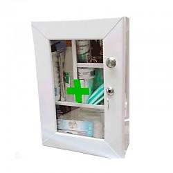 Botiquín gabinete metalico de primeros auxilios, incluye dotación, Health Solutions.